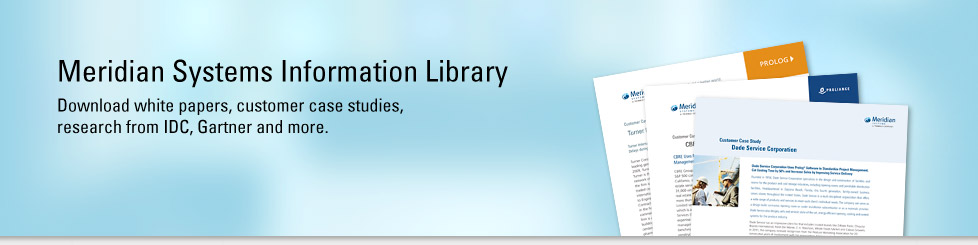 Meridian Systems Information Library. Download white papers, customer case studies, webinars, research from IDC, Gartner andmore.
